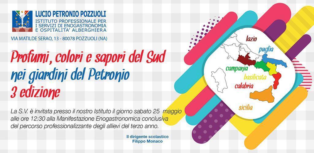 """Pozzuoli: 3a edizione dell'evento """"Profumi, colori e sapori del Sud nei giardini del Petronio"""""""
