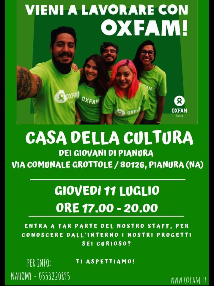 Pianura: domani alla Casa della Cultura e dei Giovani incontro con Oxfam
