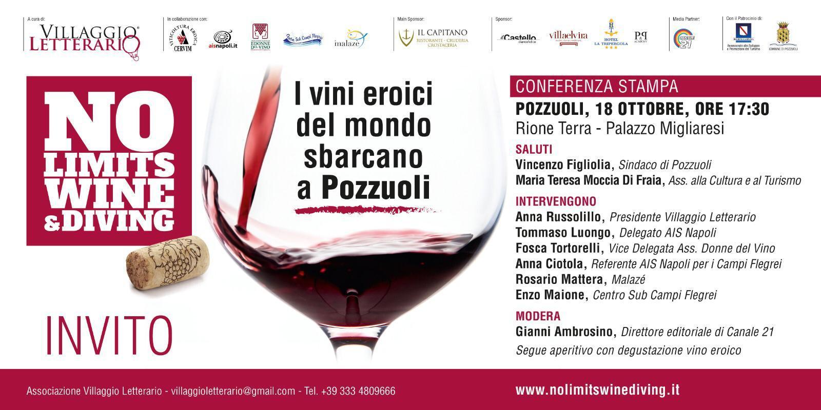 """""""No Limits Wine Diving"""": i vini eroici del mondo sbarcano a Pozzuoli"""